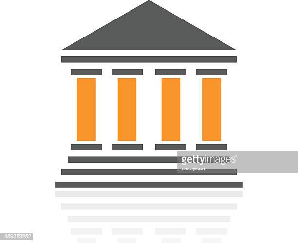bank icon on a white background. - pro series - politics and government stock illustrations, clip art, cartoons, & icons