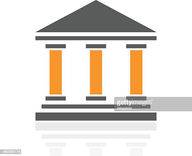 bank icon on a white background. - proseries - courthouse stock illustrations, clip art, cartoons, & icons