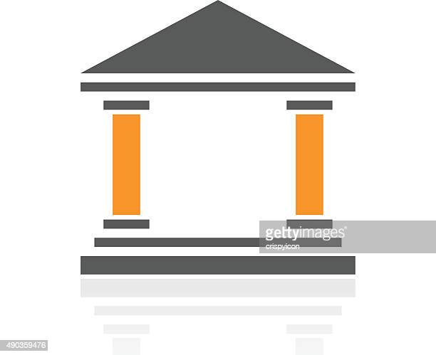 bank icon on a white background. - proseries - politics and government stock illustrations, clip art, cartoons, & icons