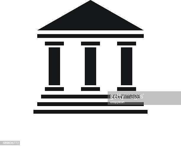 bank icon on a white background. - single series - courthouse stock illustrations, clip art, cartoons, & icons