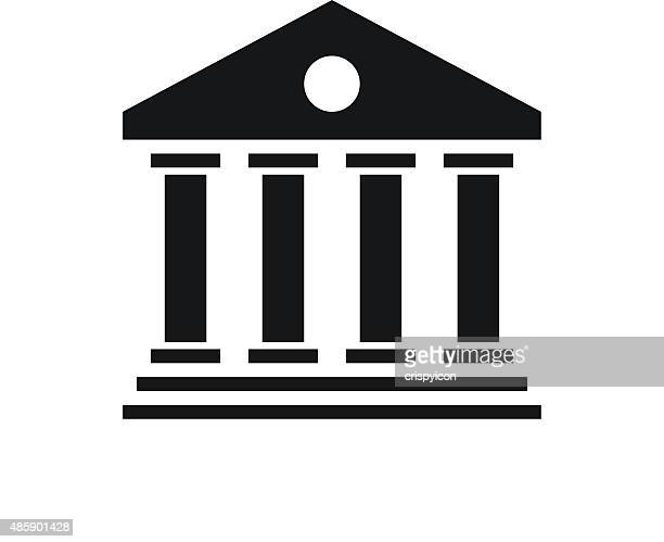 bank icon on a white background. - wall street stock illustrations