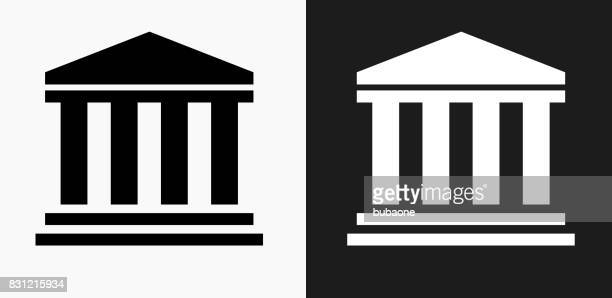 bank icon on black and white vector backgrounds - courthouse stock illustrations, clip art, cartoons, & icons