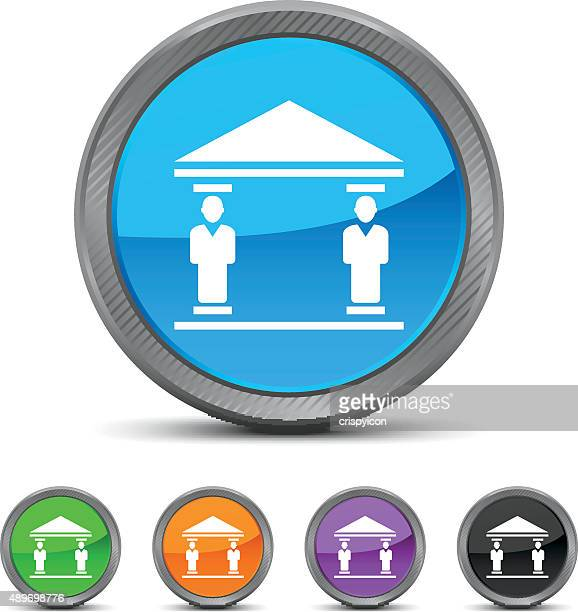 bank icon on circle buttons. - circled series - commercial real estate sign stock illustrations