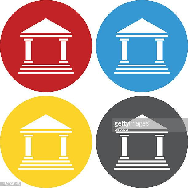 bank icon on circle buttons. - wall street stock illustrations