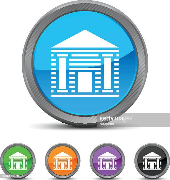 bank icon on circle buttons. - politics and government stock illustrations, clip art, cartoons, & icons