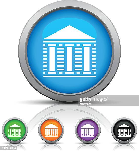 bank icon on round buttons. - gloss series - politics and government stock illustrations, clip art, cartoons, & icons