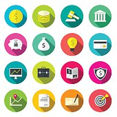 Bank icons flat colorful