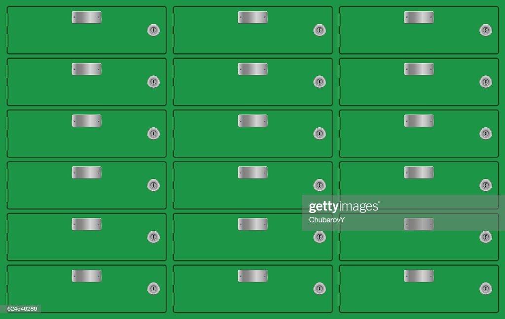 Bank lockers. Green deposit boxes
