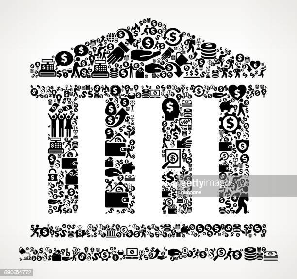 Bank  Money and Finance Black and White Icon Background