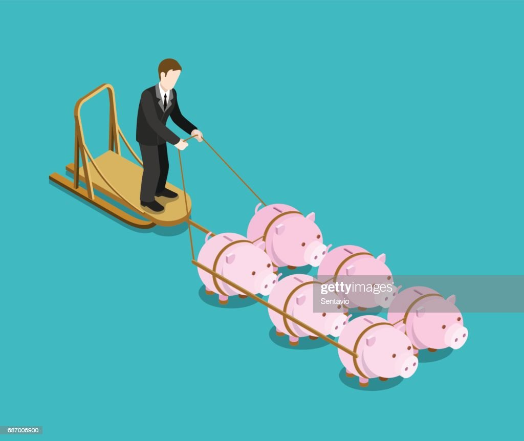 Bank owner, investor, multi investment target flat 3d web isometric infographic concept vector. Businessman drives pig sleds. Creative people financial monetary piggy bank savings collection.
