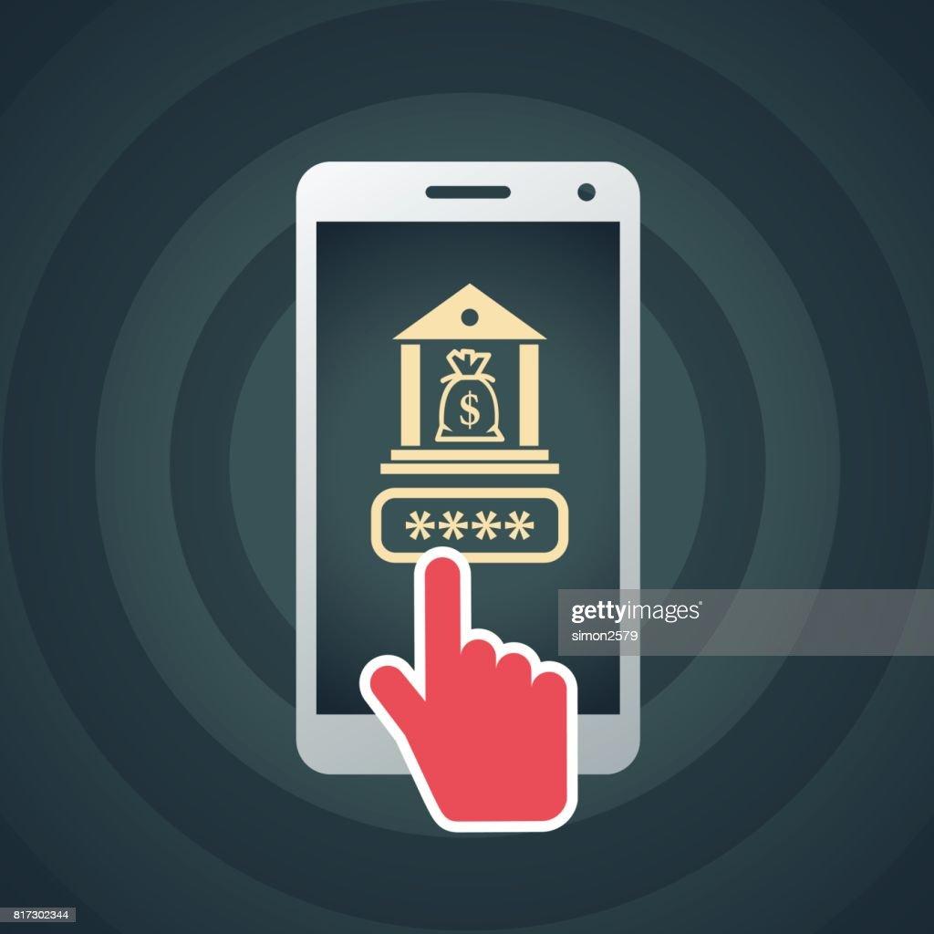 Bezaubernd Smart Bank Sammlung Von Password With Phone Icon : Vector Art