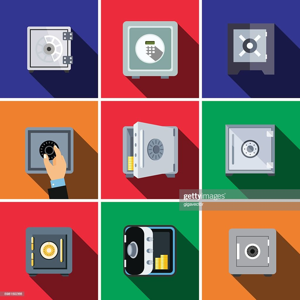 Bank safe flat icon set