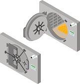 Bank Saving Door Set Isometric View. Vector