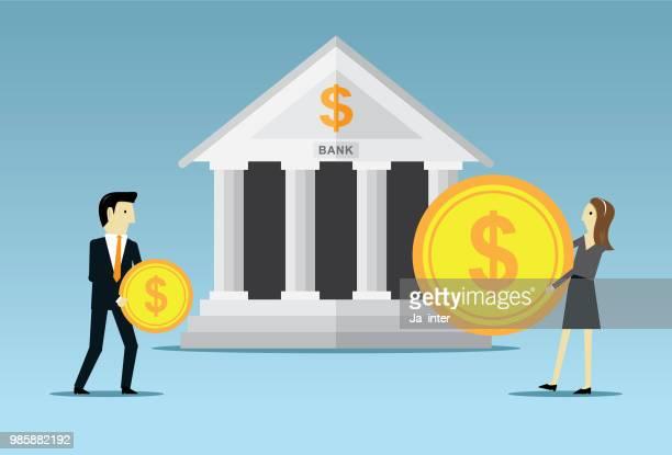 bank saving - bank financial building stock illustrations, clip art, cartoons, & icons
