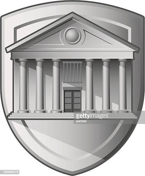 ilustrações, clipart, desenhos animados e ícones de banco shield - pediment