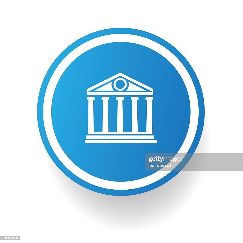 Bank symbol button on White background,vector