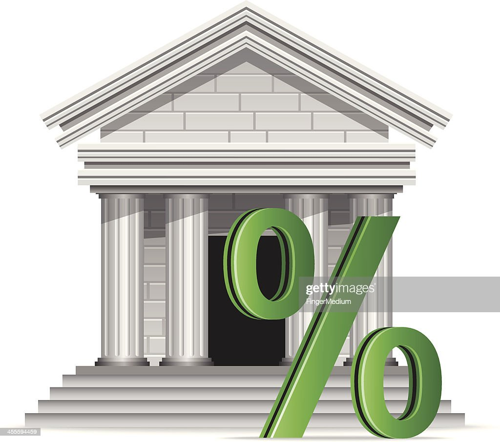 Bank with Percentage Sign : stock illustration