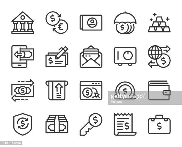 banking and accounting - line icons - bank statement stock illustrations