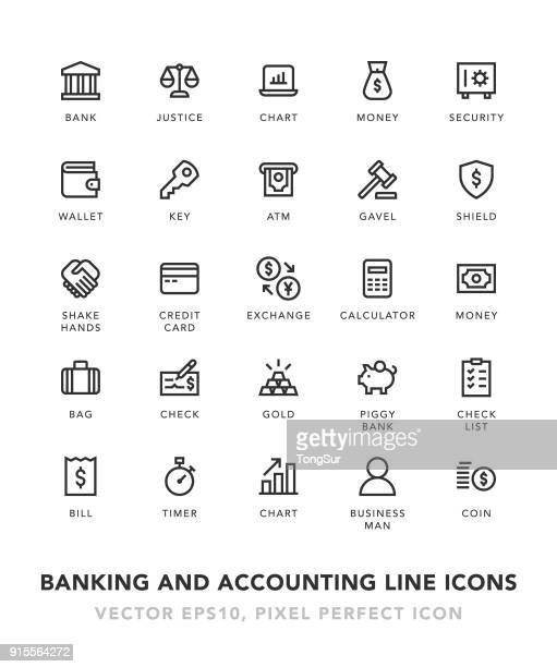 Banking and Accounting Line Icons