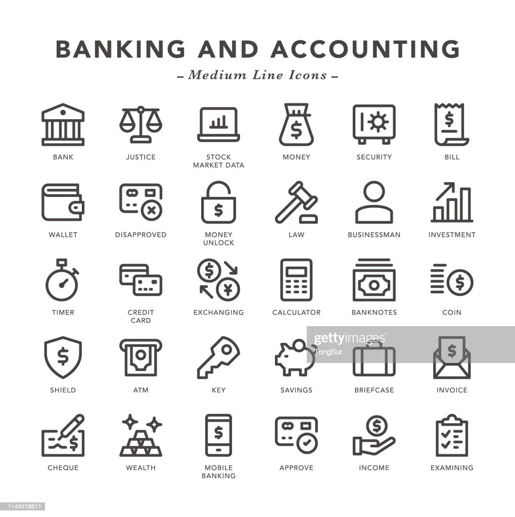 Banking and Accounting - Medium Line Icons : Stock Illustration