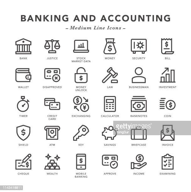 banking and accounting - medium line icons - illustration technique stock illustrations, clip art, cartoons, & icons