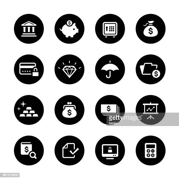 banking and finance circle icons set - accounting ledger stock illustrations, clip art, cartoons, & icons