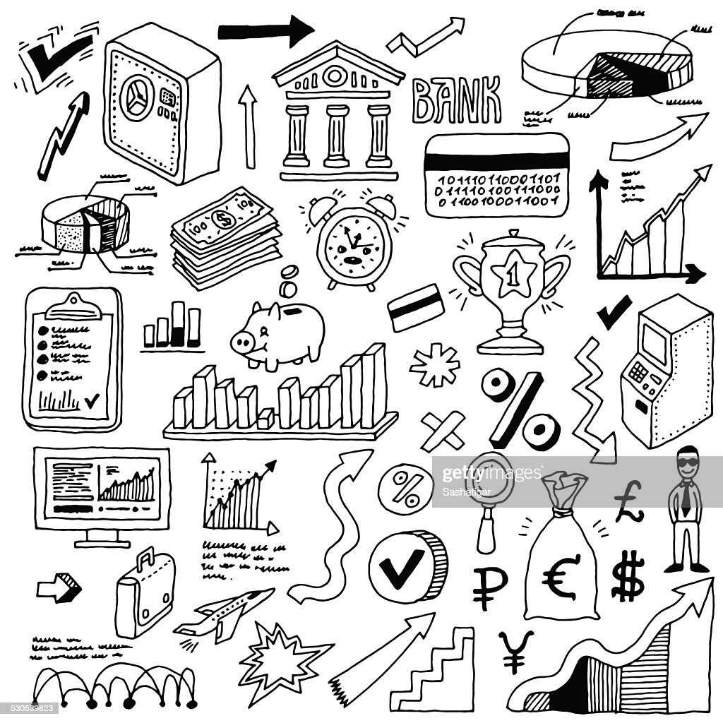 Banking and finance doodle set. Hand drawn. Vector illustration.