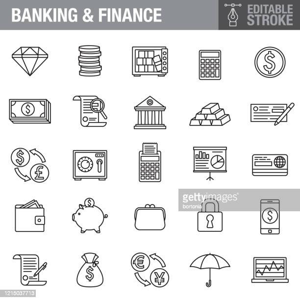 banking and finance editable stroke icon set - money bag stock illustrations