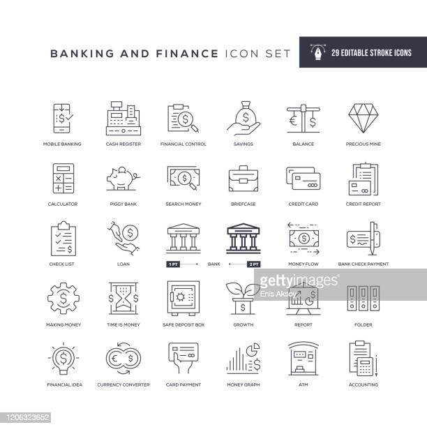 banking and finance editable stroke line icons - loan stock illustrations