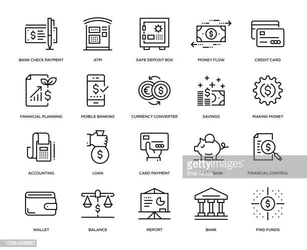 banking and finance icon set - balance stock illustrations