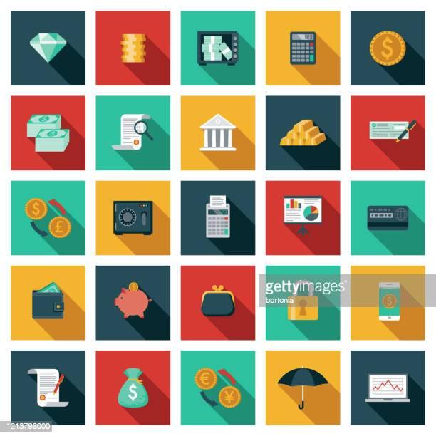 stockillustraties, clipart, cartoons en iconen met pictogramset voor bankieren en financiën - bankieren