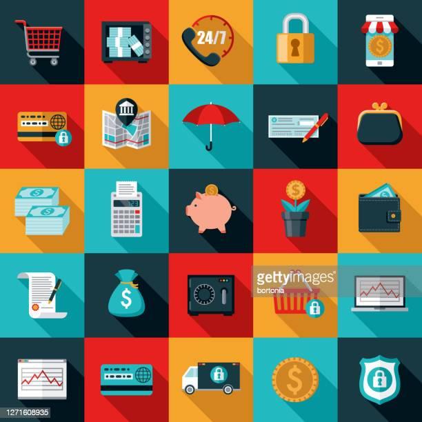 銀行と金融アイコンセット - 札入れ点のイラスト素材/クリップアート素材/マンガ素材/アイコン素材