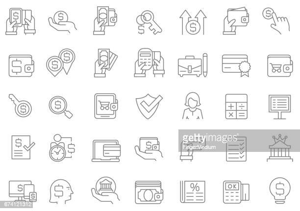 banking and finance icon set - accountancy stock illustrations, clip art, cartoons, & icons