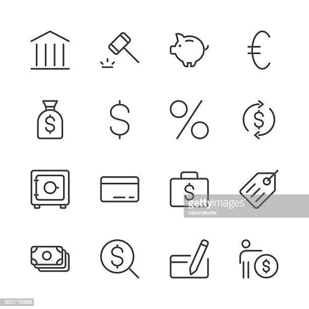 banking and finance icons set 1 | black line series - consumerism stock illustrations