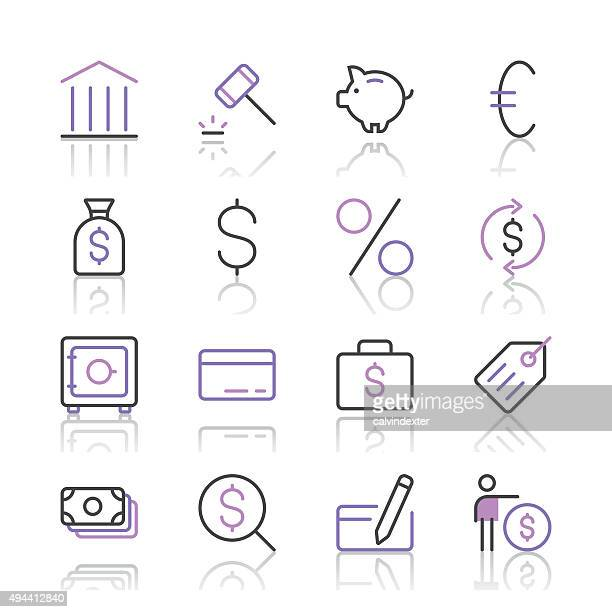 Banking and finance icons set 1 | Purple Line series