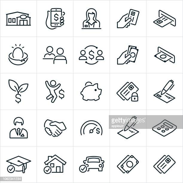illustrazioni stock, clip art, cartoni animati e icone di tendenza di icone bancarie e finanziarie - contabilità