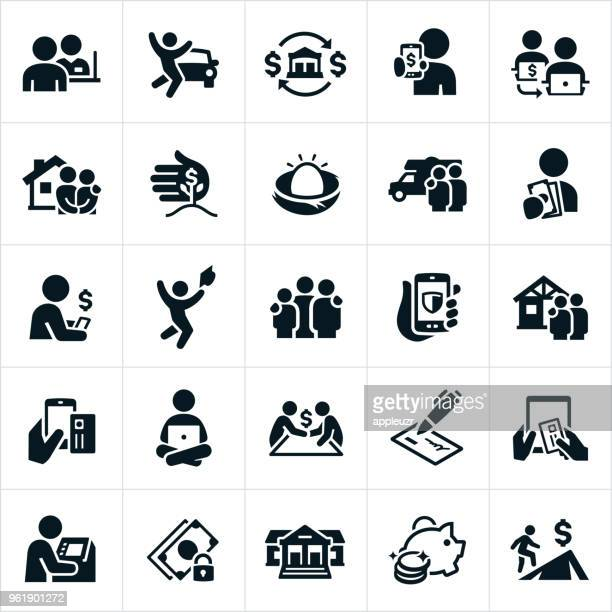 banking and finance icons - loan stock illustrations