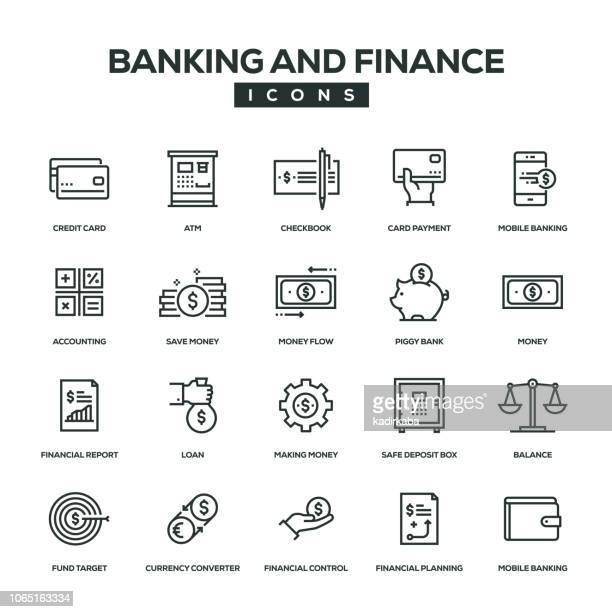banking and finance line icon set - accountancy stock illustrations, clip art, cartoons, & icons
