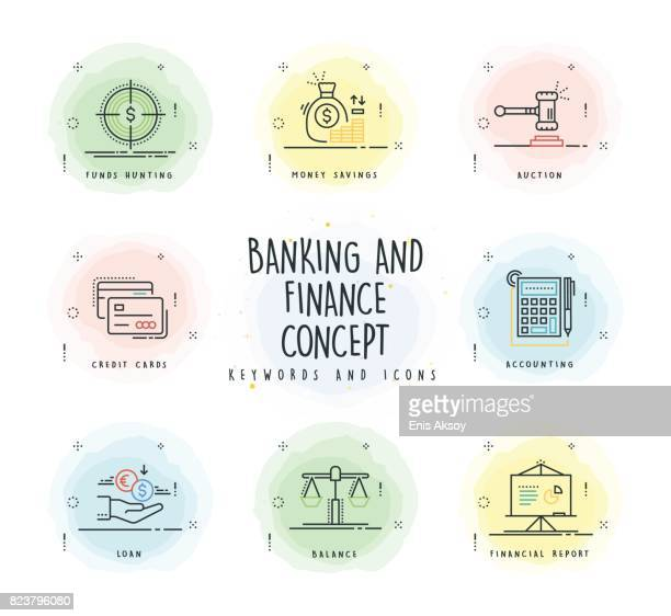 banking and finance line icon set with watercolor patch - accountancy stock illustrations, clip art, cartoons, & icons