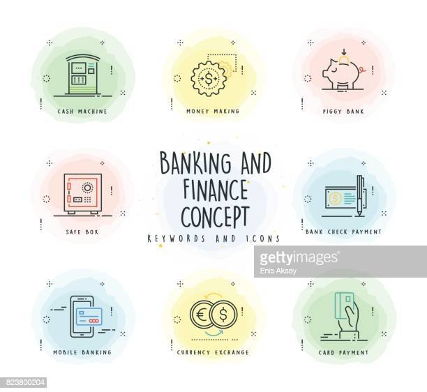 banking and finance line icon set with watercolor patch - painting art product stock illustrations