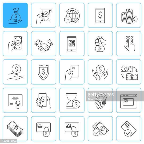 ilustraciones, imágenes clip art, dibujos animados e iconos de stock de iconos de líneas bancarias y financieras. trazo editable. - fajo de billetes