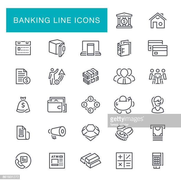 banking and finance line icons - accountancy stock illustrations, clip art, cartoons, & icons