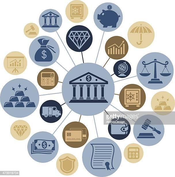 バンキング金融のモンタージュ - bid点のイラスト素材/クリップアート素材/マンガ素材/アイコン素材