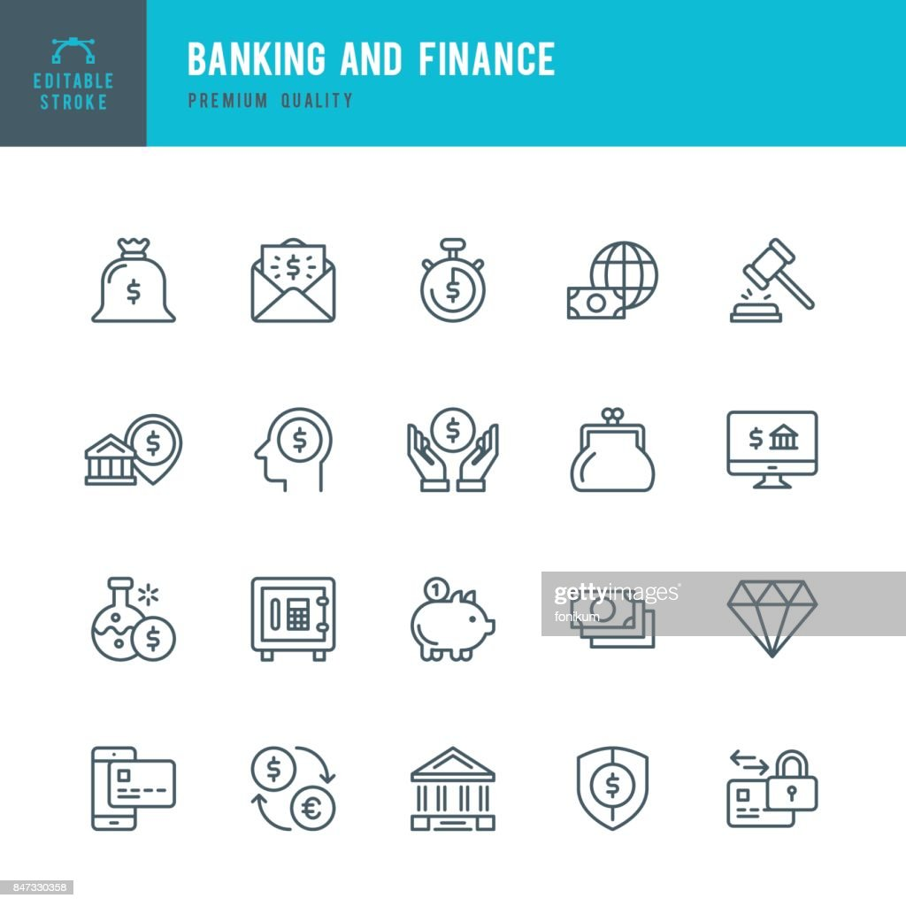 Banking and Finance  - Thin Line Icon Set : stock illustration