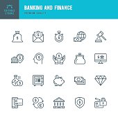 Banking and Finance  - Thin Line Icon Set