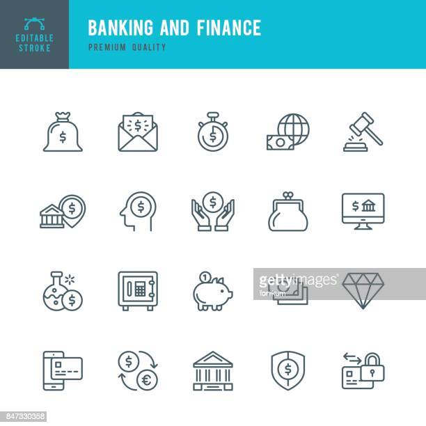 banking and finance  - thin line icon set - thin stock illustrations