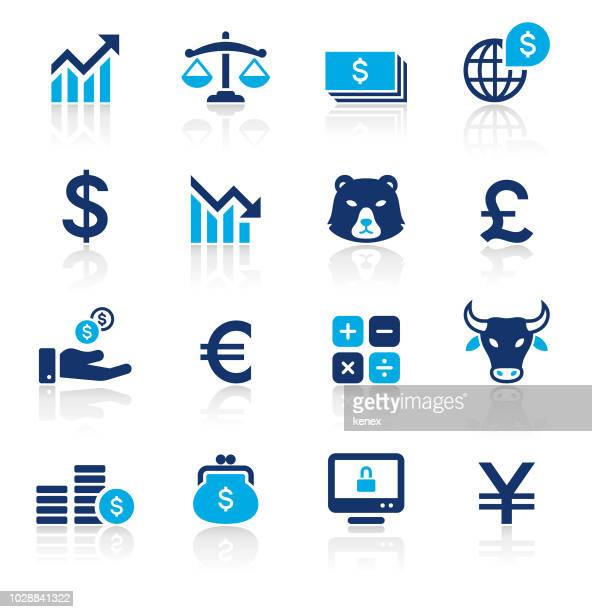 banking and finance two color icons set - trading stock illustrations