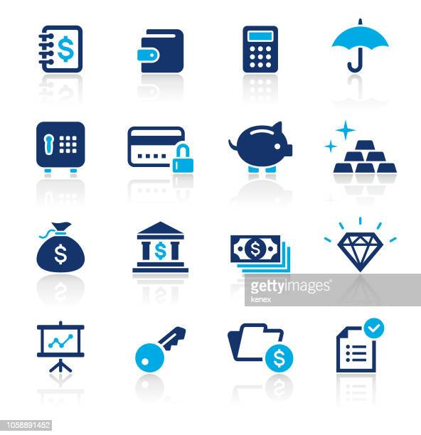 banking and finance two color icons set - accounting ledger stock illustrations, clip art, cartoons, & icons