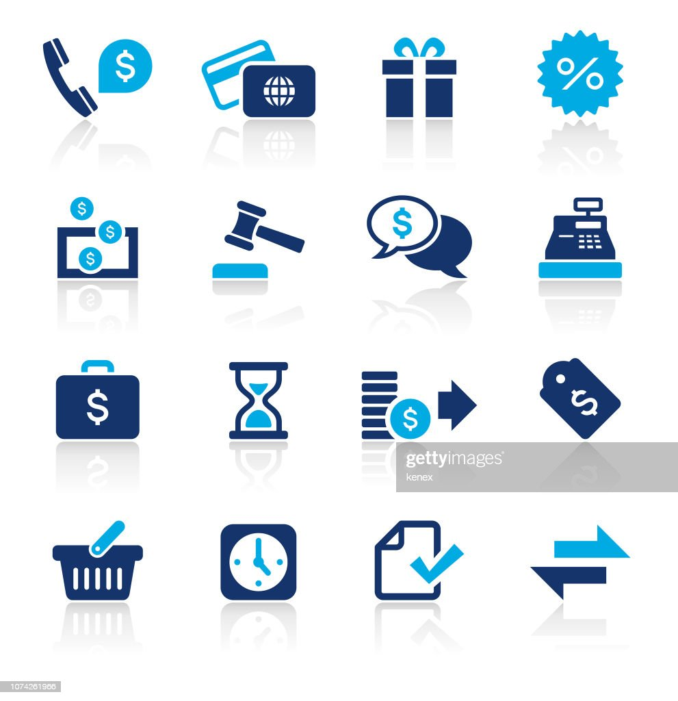 Banking and Finance Two Color Icons Set : stock illustration