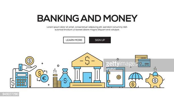 Banking and Money Flat Line Web Banner Design